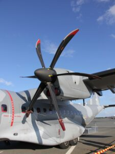 """Left engine of Polish air force CASA C-295M """"015"""" transport on ground display at Oulu Airport at Tour de Sky 2014 air show."""