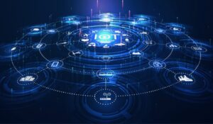 landing page IoT. Internet of things devices and connectivity concepts on a network. Spider web of network connections with on a futuristic blue background. IOT icons