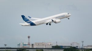 Airbus A220-300 (C-FFDO) taking off at Donmueang International Airport.