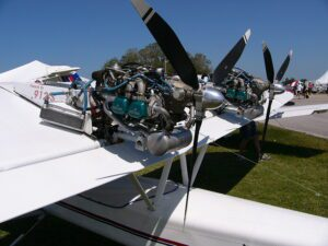 Twin Rotax 912 Engines outdoor at an Aircraft Expo
