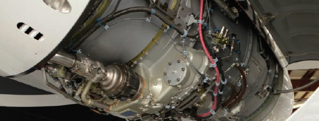Close up of Exposed Stryker Aircraft Engine